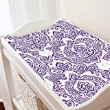 Carousel Designs White and Purple Vintage Damask Changing Pad Cover - Organic 100% Cotton Change Pad Cover - Made in The USA