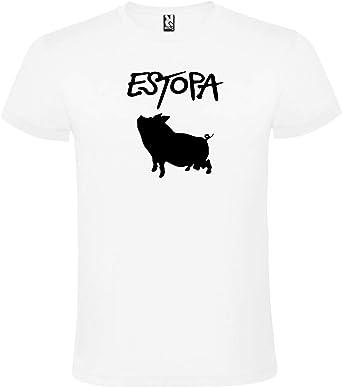 ROLY Camiseta Blanca con Logotipo de Estopa Hombre 100% Algodón ...