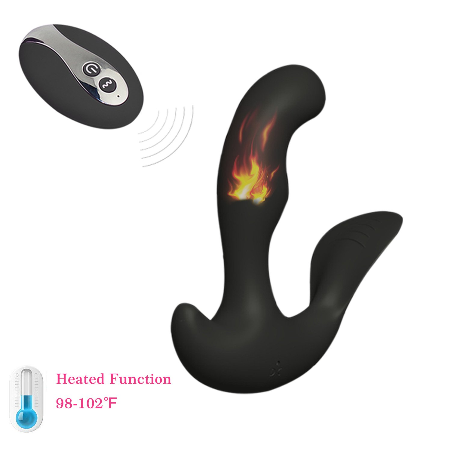 Vibrator Sex Toy for Women Men Anal Plug Wireless Remote Control Personal Wand Massager Powerful Speed Vibrating Male Prostate Massage Heating Rechargeable Waterproof Cordless (Black + Remote Control)