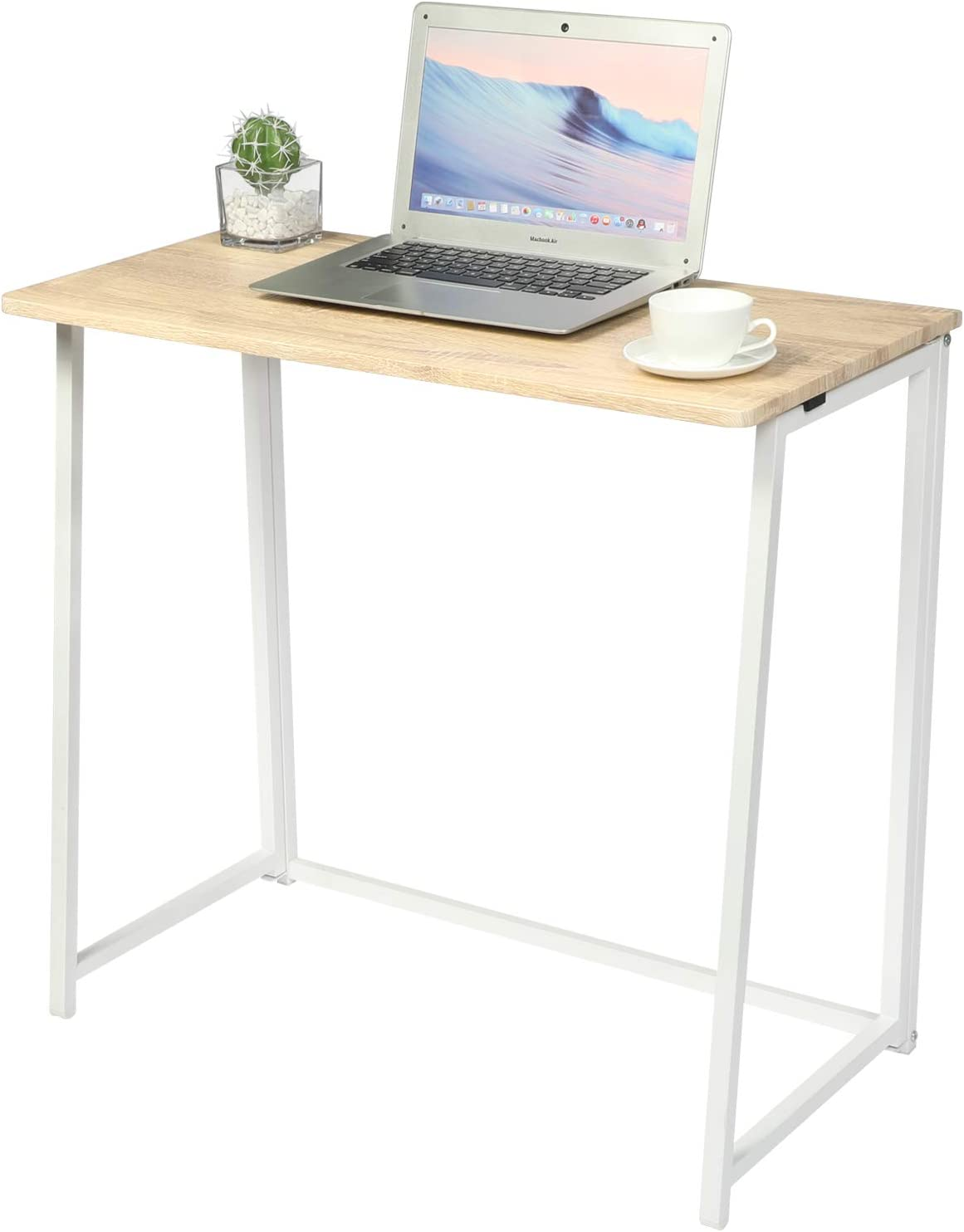 GreenForest Foldable Desk Small Computer Desk Writing Table, Modern Simple Notebook Desk Workstation for Home Office, Saving Space,Oak