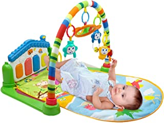 WYSWYG Baby Gym Jungle Musical Play Mats for Floor, Kick and Play Piano Gym Activity Center with Music, Lights, and Sounds Toys for Infants and Toddlers Aged 0 to 6 to 12 Months (Blue)
