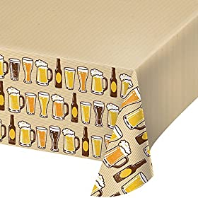 Creative Converting Border Print Plastic Tablecover, 54 x 102, Cheers/Beers