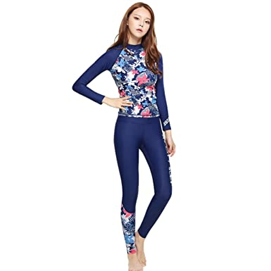 25a1f0d2bf216 GSOU Snow Women s Rash Guard Long Sleeve Shirt Trousers Pants Swimwear  Swimsuit UPF 50+ Two