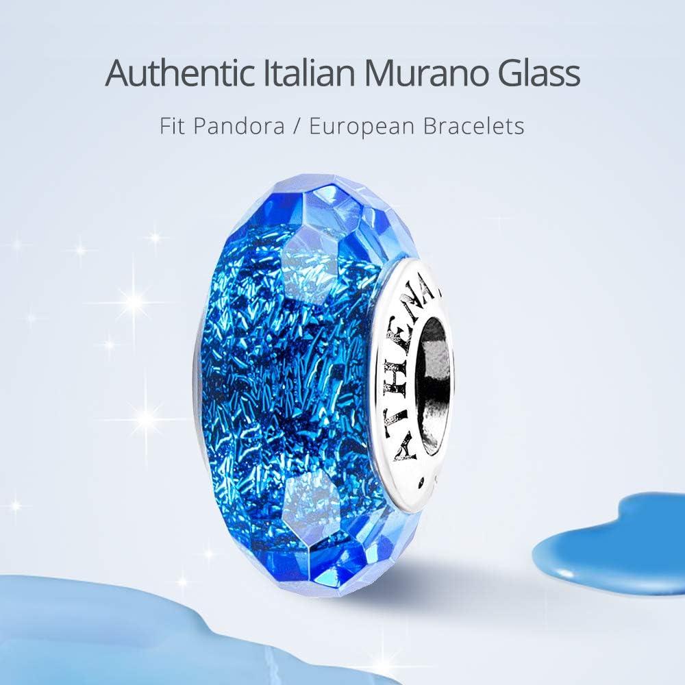 Everbling Fascinating Dark Blue Murano Glass 925 Sterling Silver Bead Fits European Charm Bracelet