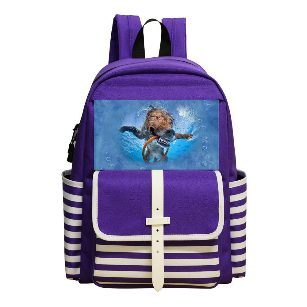 Small School Bags For Kindergarten Unisex Children,Print The Dog Is Playing In The Water,Purple