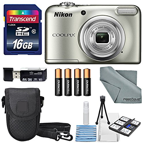 Nikon COOLPIX A10 Digital Camera Bundle with 16GB + Batteries + Case + Deluxe Starters Kit + FiberTique Cleaning Cloth