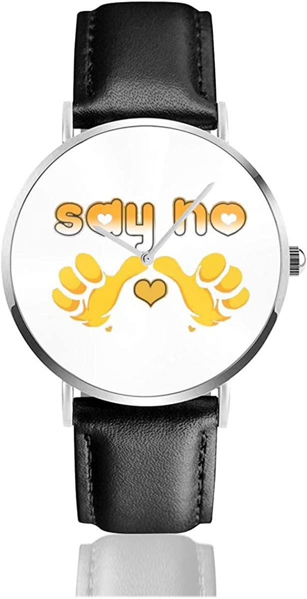Brave TO Say NO Men Wrist Watches Genuine Leather For Gents Teenagers Boys