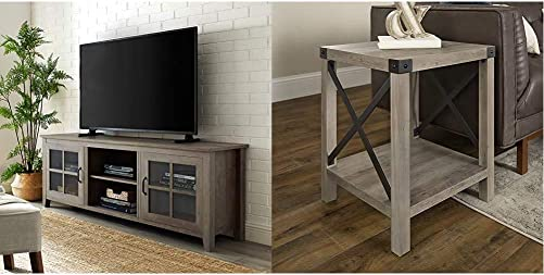 Walker Edison Furniture Company Modern Farmhouse Glass and Wood Stand with Cabinet Doors, 70 Inch Rustic Modern Farmhouse Metal and Wood Square Side Accent Living Room Small End Table, 18 Inch
