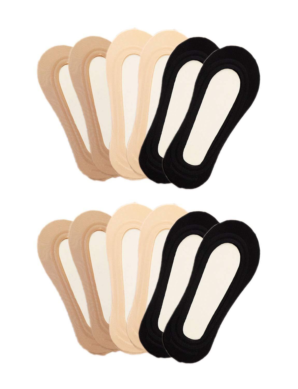 Gauss Kevin 6 Pairs Thin Ice Silk No Show Low Cut liner Socks Women Elastic Nylon Non Slip