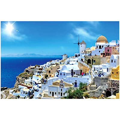 Puzzles for Adults 1000 Piece Large Puzzle, Santorini Landscape Jigsaw Puzzle: Toys & Games