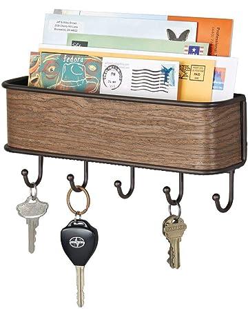 mDesign Colgador de llaves con estante para uso variado - organizador de llaves en acero inoxidable