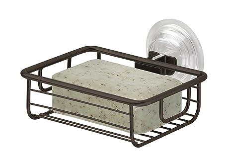 MDesign Suction Bar Soap Holder For Bathroom Shower   Bronze