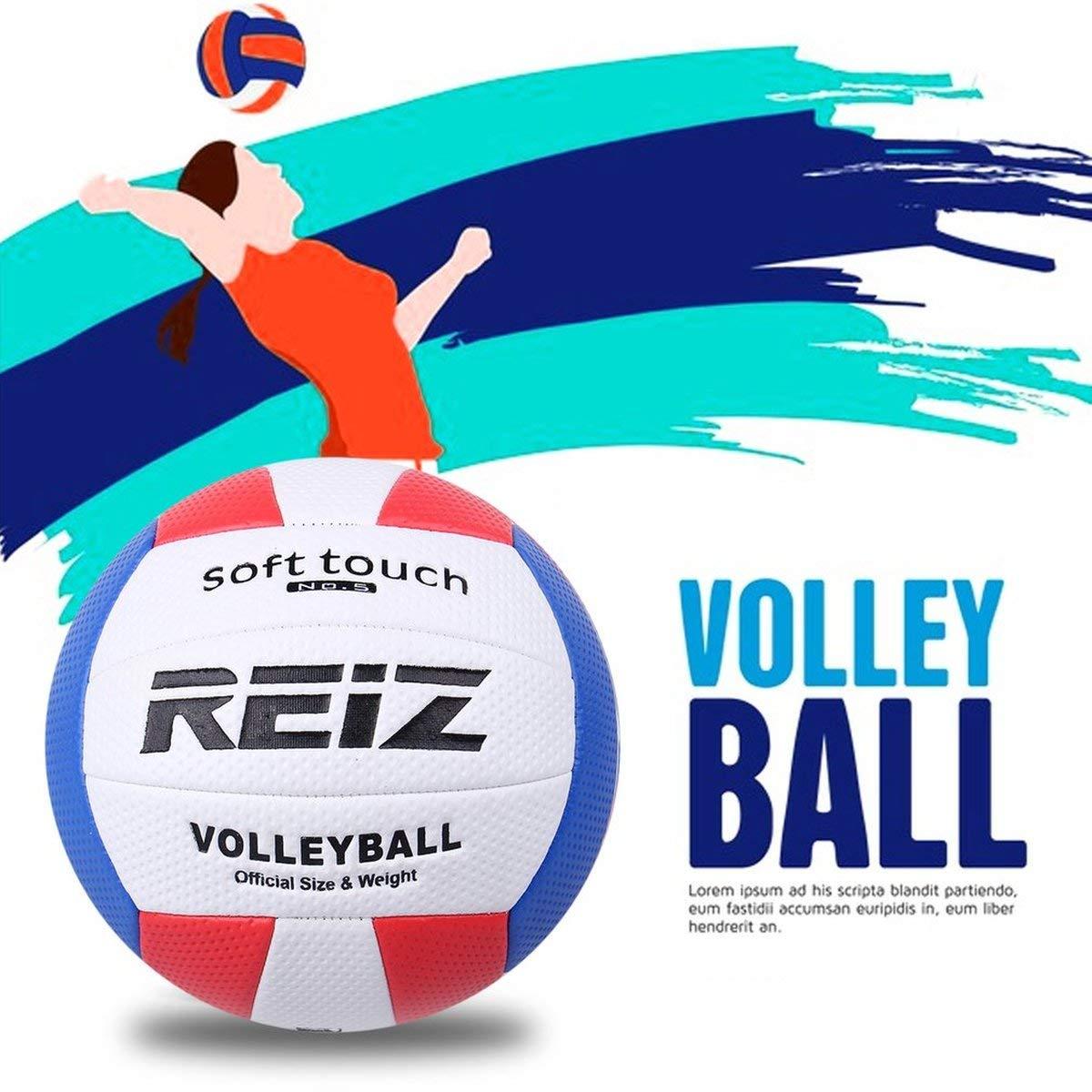 Fgdjfh Soft Touch PU Leather 5# Bal/ón de Voleibol Competencia de Entrenamiento al Aire Libre en Interiores Bal/ón de Voleibol est/ándar para Estudiantes Rojo y Azul Blanco