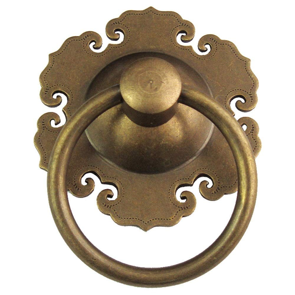 Metal door handle 1 X Large 80mm Outer Diameter Round Brass Frount Door Handle,Retro Vintage Antique Bronze Drop Circle Door Handles Pulls,Screws Included ( Color : Golden/Brass , Size : One size )