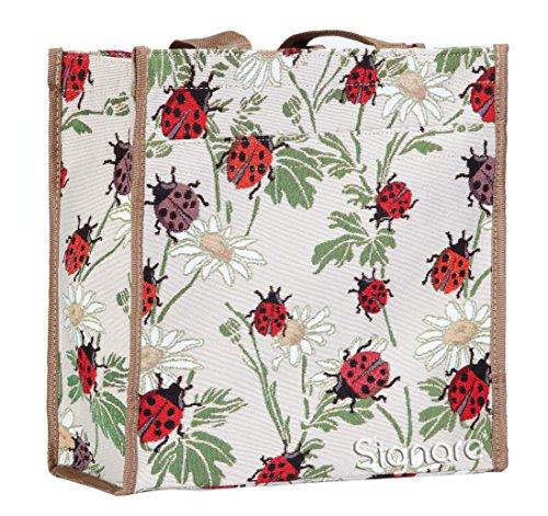 Signare Womens Fashion Tapestry Shopper Bag Shoulder Bag in Laydbird Design White