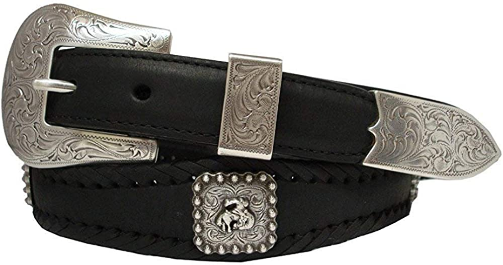 Pele Belt Men Harness Leather Laced Silver Bronco Rider Conchos Floral Buckle