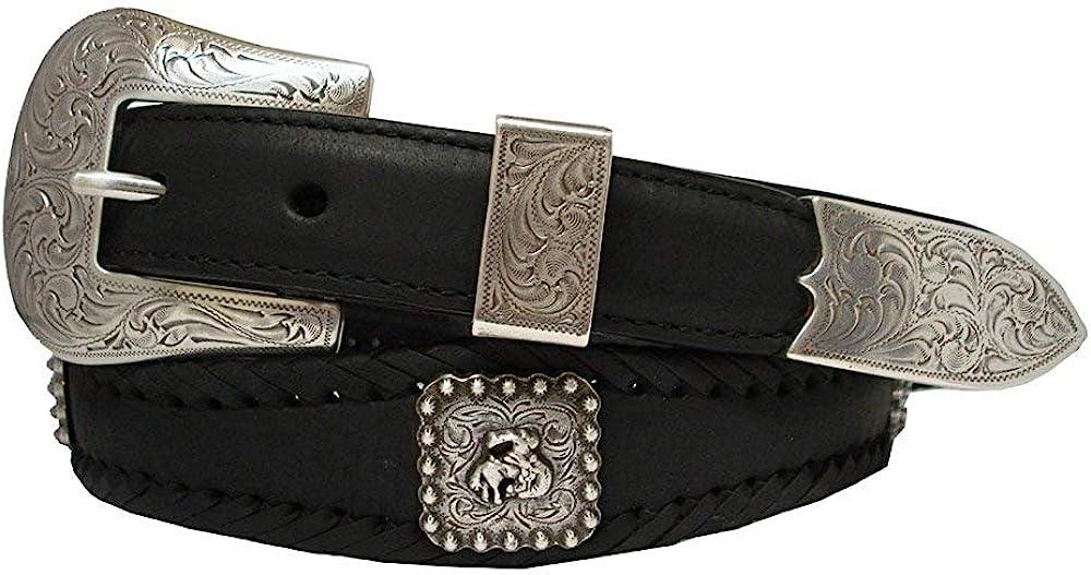 Pele Belt Men Harness Leather Laced Silver Bronco Rider Conchos Floral Buckle