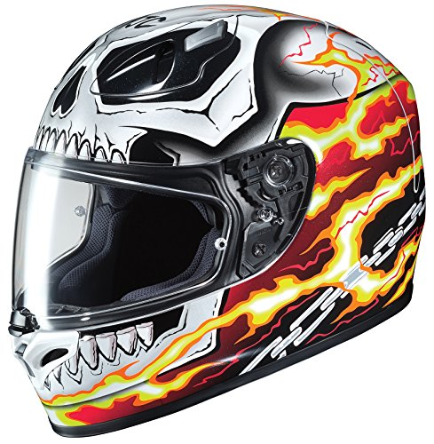 HJC Helmets Unisex-Adult Full-face Style Ghost Rider Motorcycle Helmet (White/Red, X-Large)