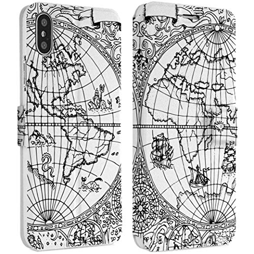 Wonder Wild World Map IPhone Wallet Case X/Xs Xs Max Xr Case 7/8 Plus 6/6s Plus Card Holder Accessories Smart Flip Clear Design Protection Cover Traveler Adventure Wind Rose Cartography Monochrome