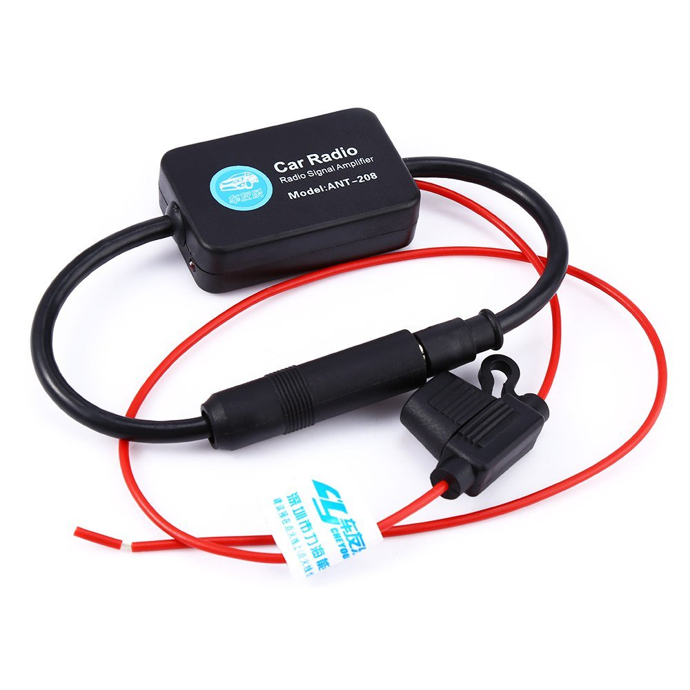 AUTOLOVER Ant-208 Car Radio Signal Amplifier FM Aerial Antenna Booster for Marine Car Boat Truck RV