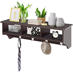 Giantex Hanging Shelf with Hooks Wall Mount Cubby Organizer with 4 Dual Hooks and Storage for Entryway, Hallway, Diningroom Furniture (Brown)