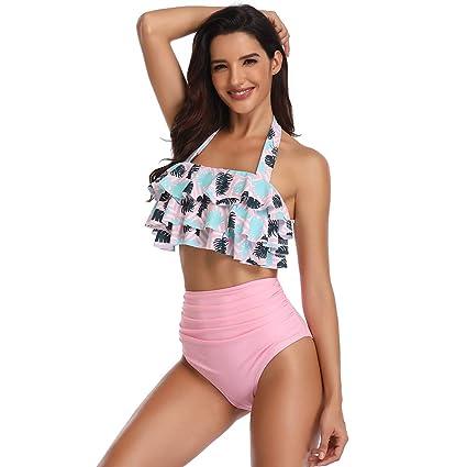 Caige Mujeres Retro Volante de Cintura Alta Bikini Halter Cuello Dos Piezas Traje de baño,Pink,M: Amazon.es: Hogar