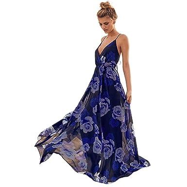Longra Sommerkleider Damen Lang Strandkleider Abendkleid Schulterfrei  Maxikleid Elegant Blumendruck Kleider Damen V Ausschnitt Spaghetti Buegel 9676b2662a