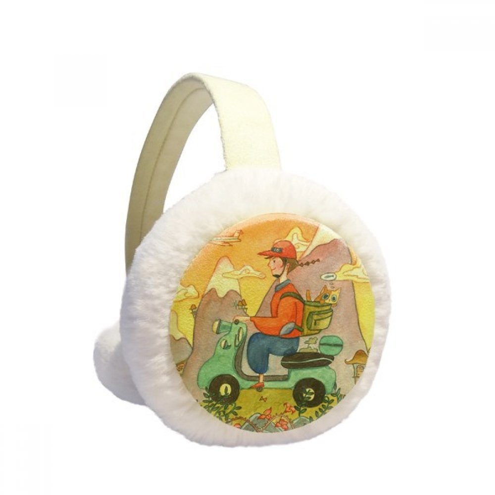 Miaoji Painting Watercolor Cat Farmer Winter Earmuffs Ear Warmers Faux Fur Foldable Plush Outdoor Gift