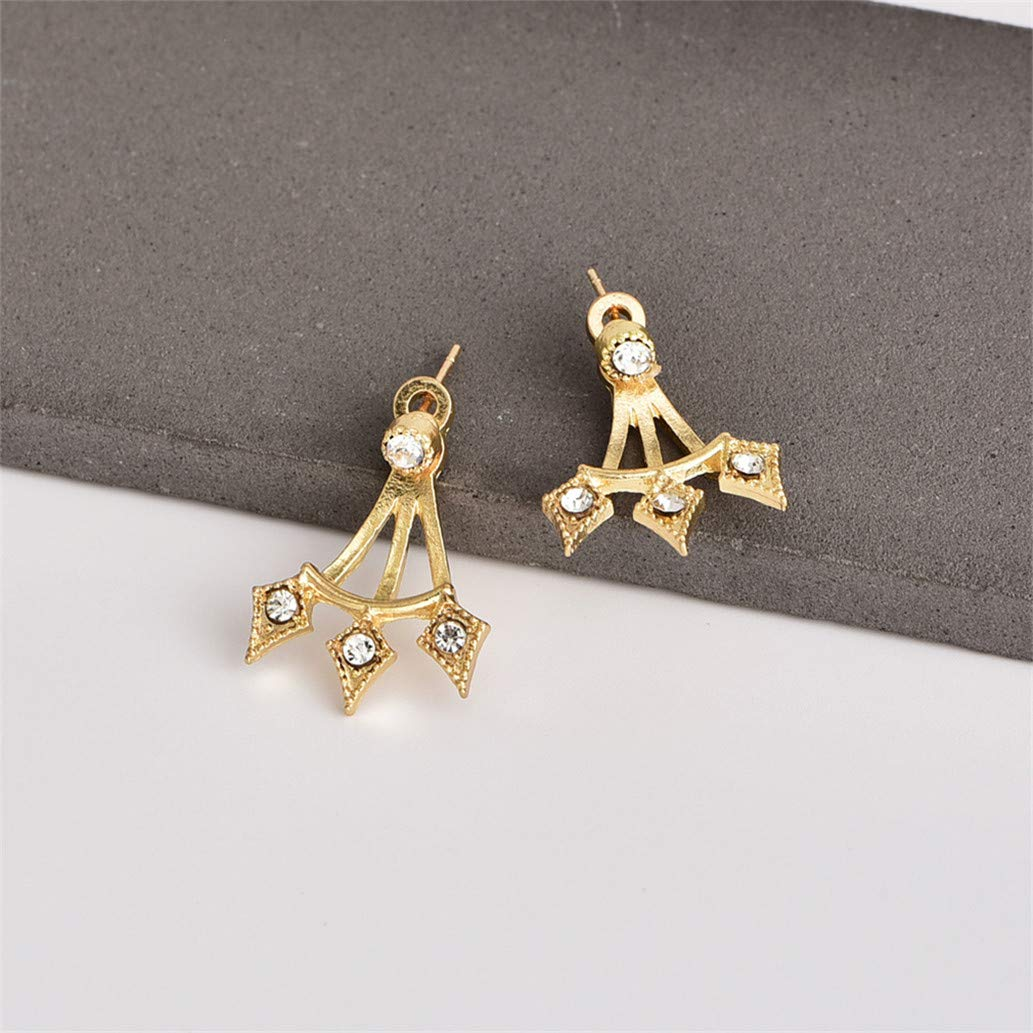 KISSFRIDAY Golden fashion popular punk wind back plug with stud earrings jewelery gifts