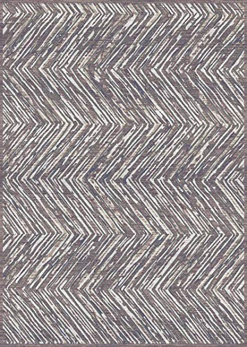 PlanetRugs Symphony Area Rug (5'2'' X 7'6'') Design 27005 Taupe Ivory Cream Beige Trellis Moroccan Modern Geometric Wavy Lines Contemporary for Bedroom, Living Room, Dining (Symphony Taupe Rug)