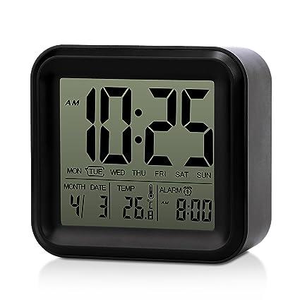 AFAITH Reloj despertador digital grande LCD, Reloj de cabecera de escritorio con función de repetición