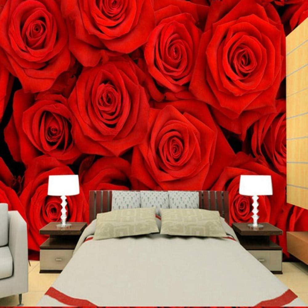 Amazon Com Dalxsh Photo Wallpaper 3d Red Rose Wallpaper Bedroom Tv Sofa Background Wall Marriage Room Wallpaper Red Roses Wallpaper Mural 350x250cm Furniture Decor