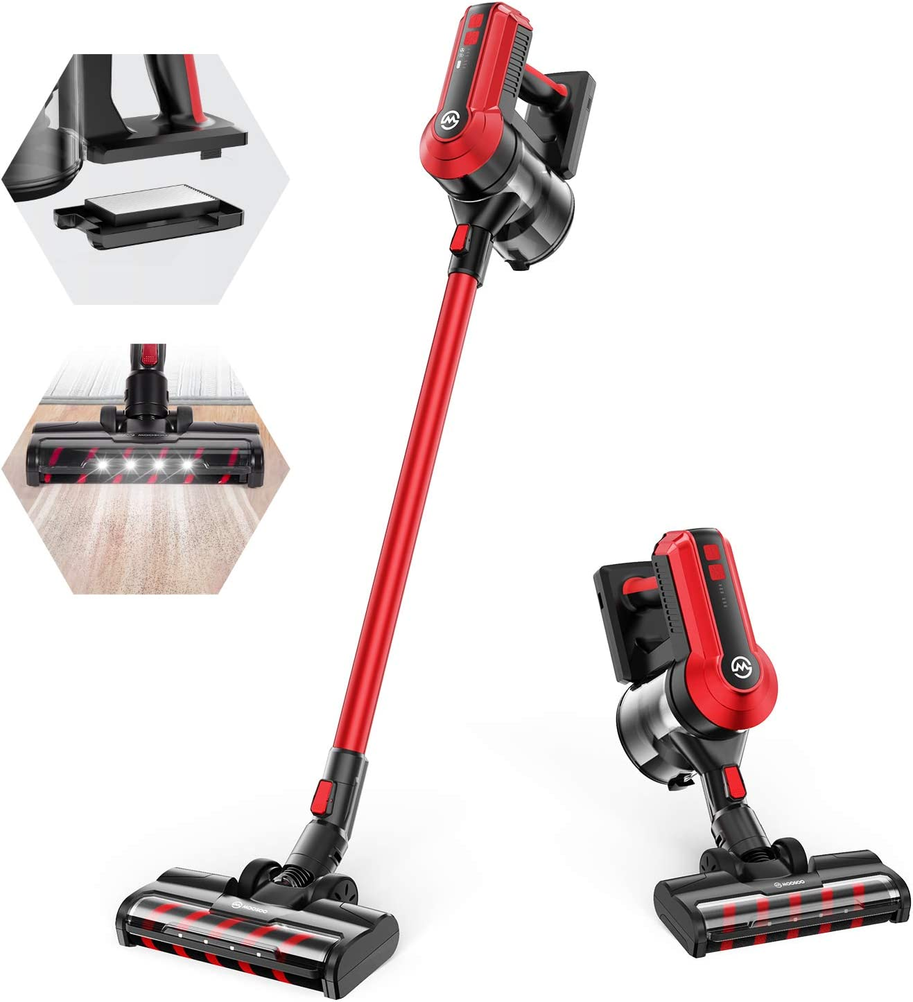 MOOSOO Cordless Vacuum, 300W Powerful Stick Vacuum, 5 Stages Filtration System, 35 mins Runtime, 4-in-1 Vacuum Cleaner for Hard Floor Carpet Pet Car