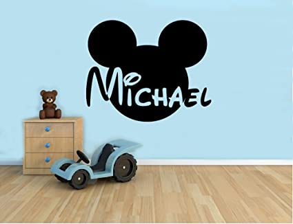 Personalized Name Wall Decal Mickey Mouse Head Vinyl Sticker Custom Name Home Decor Bedroom Nursery Baby & Amazon.com: Personalized Name Wall Decal Mickey Mouse Head Vinyl ...