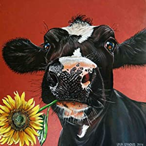 DIY 5D Diamond Painting by Number Kits, Crystal Rhinestone Diamond Embroidery Paintings Pictures Arts Craft for Home Wall Decor, Colorful Cow (Cow Red, 15.8 x 15.8IN)
