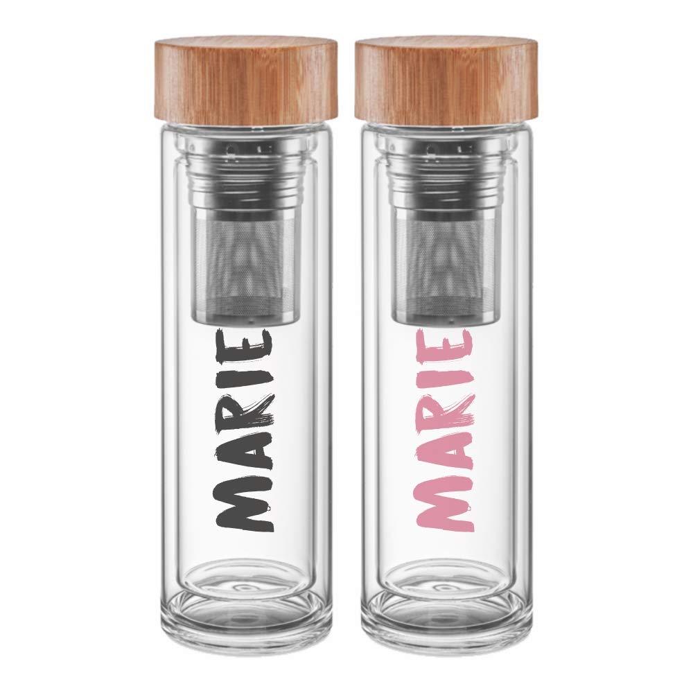 Deinzigartig 2er Set:  Lieblingsflasche Thermo – Identity-Design - Teeflasche aus Glas mit deinem Namen - für losen Tee & Infused Water