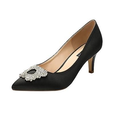 c26332a221528e ERIJUNOR E1604 Women Pumps Low Heel Rhinestone Brooch Satin Evening Dress  Wedding Shoes Black Size 5