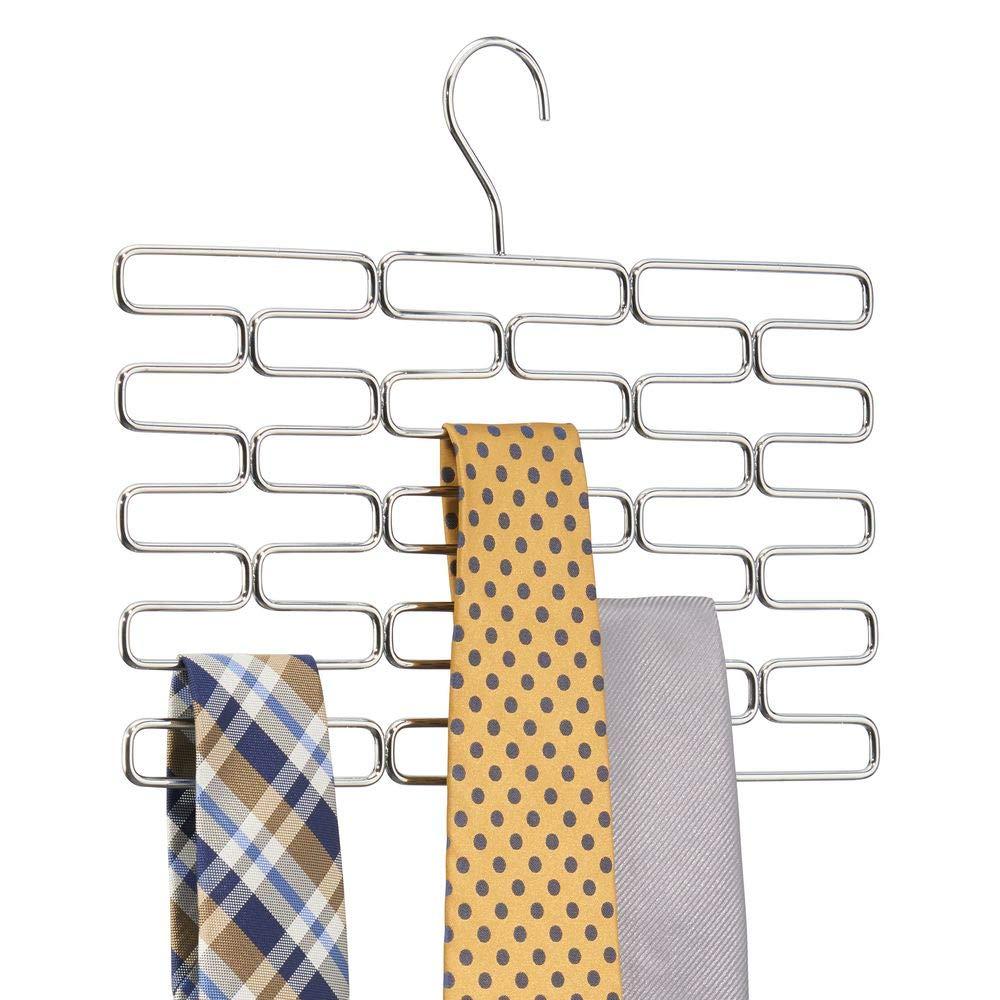 Pr/áctico organizador de accesorios mDesign Corbatero ideal para ahorrar espacio en interiores de armarios Elegante percha organizadora con huecos para al menos 23 corbatas cromado