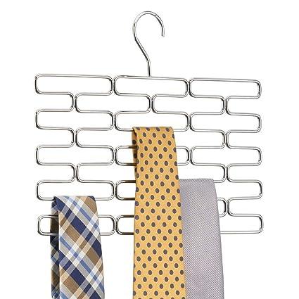 fréquent répliques achat le plus récent mDesign cintre porte-cravates – cintre multiple pour au moins 23 cravates –  accessoire de dressing pratique – argenté