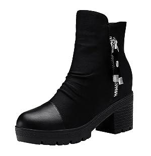 PerfectAZ Women Fashion Casual Round Toe Zipper Platform Chunky Mid Heel Short Boots(7 B(M) US, Black)
