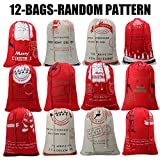Christmas Sock Bag Christmas Presents For Kids From Santa Claus Gift Bags Box Christmas Stocking Hold Xmas Present Sack Drawstring Bag With Christmas Design Mady By Environmental Canvas-12pack random