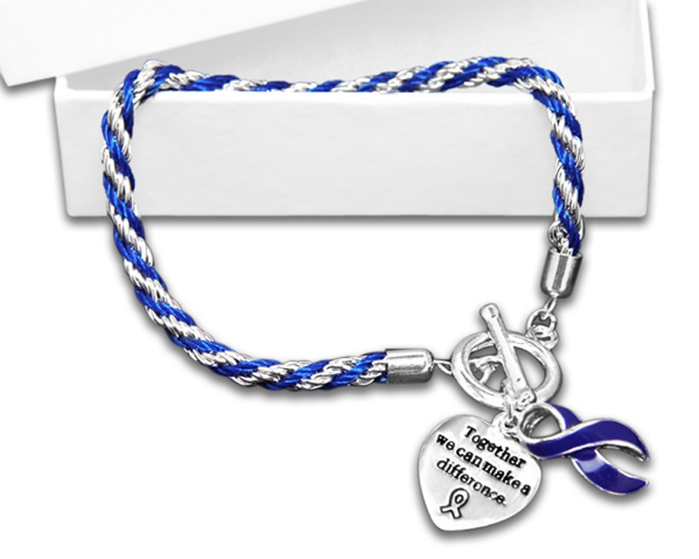 Fundraising For A Cause Rope Dark Blue Ribbon Bracelets Individually Bagged (Wholesale Pack - 12 Bracelets) by Fundraising For A Cause (Image #1)