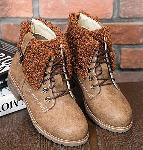 Mid Round Khaki Trendy Short Aisun Heels Lace Chunky Toe Boots Women's Up ZfYnwnqUH