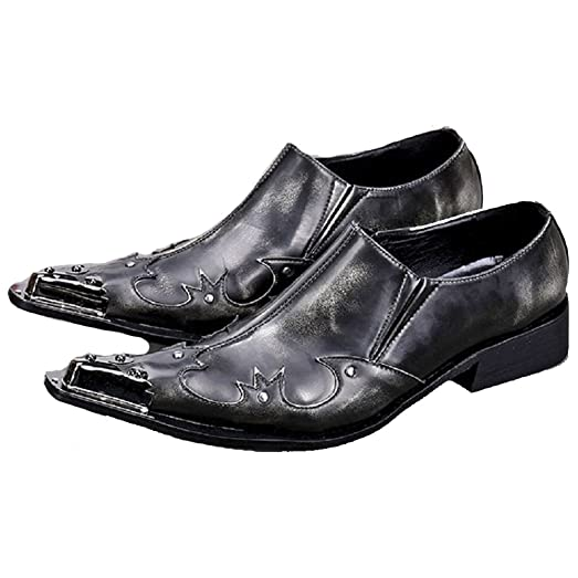Size 5-12 Fashion Steel Toe Rhinestone Leather Mens Slip On Casual Dress Suit Loafers Shoes