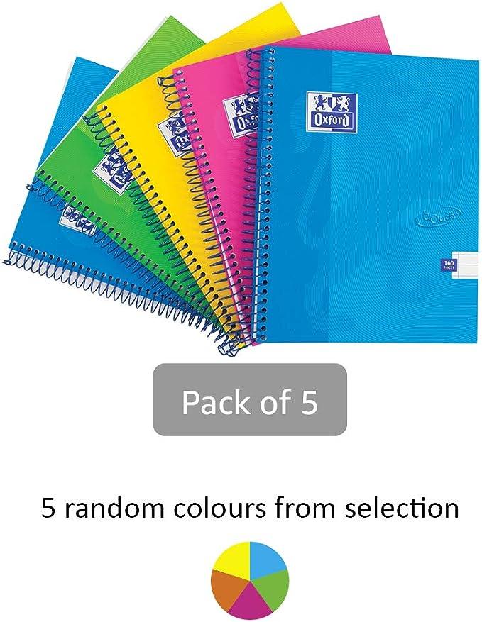 Oxford Touch - Cuaderno de espiral (5 unidades, 160 páginas, tapa dura), varios colores, color multicolor A5: Amazon.es: Oficina y papelería