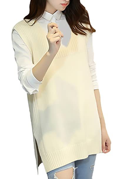 Chaleco Mujer Primavera Otoño Moda Elegantes Color Sólido Anchos Sudaderas Joven Bastante Chaqueta De Punto V