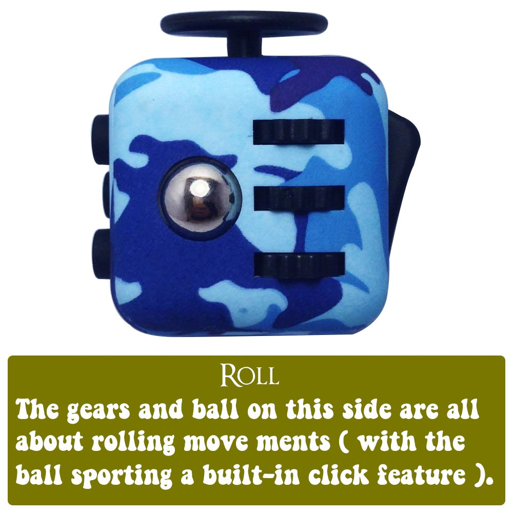 LvnWin Fidget Cube Dice Toy Stress Reducer Helps Focusing Relax Anti-Anxiety Boredom For ADD, ADHD, EDC, Kids and Autism Adult Children (Camo Blue) by LvnWin (Image #4)