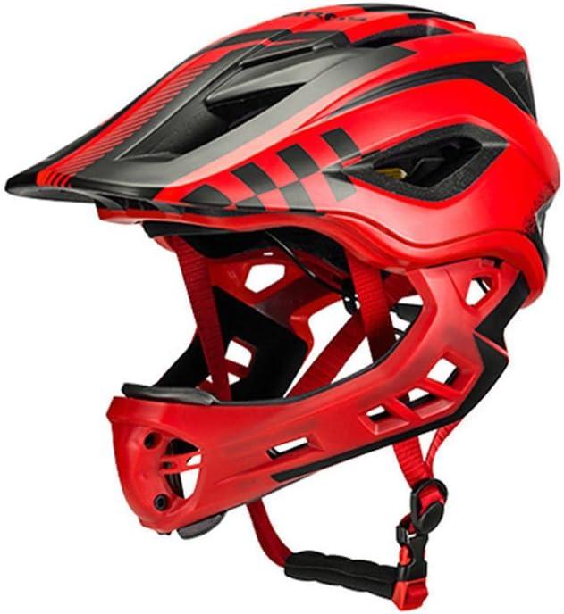 ROCKBROS Casco Integral para Ciclismo BMX Infantil Desmontable Ajustable Protección con 12 Agujeros Anti-Golpes Tamaño 48-58 cm para Niños y Niñas