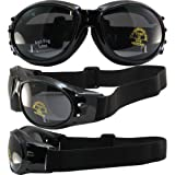Birdz Eagle Padded Motorcycle Airsoft Goggles Gloss Black Frames with Anti-Fog Driving Smoke Mirror Lens