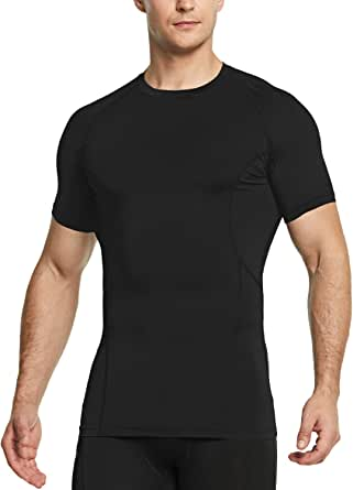 Tesla Men's Cool Dry Compression Baselayer Short Sleeve T Shirts